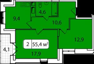 Планировка 2-комнатной квартиры в Аристово-Митино